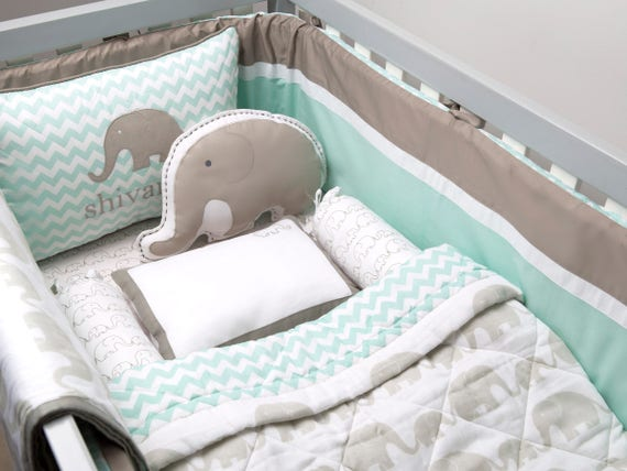 Elephant Parade Organic Cot Bedding Set Custom Nursery