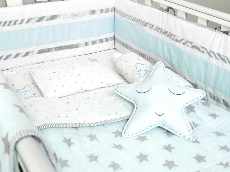 Blaue Sterne Bio Kinderbett Baby Bettwäsche Set Etsy