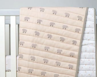 Counting Sheep -Organic Cotton Baby Blankets (Peach), Sheep Baby Blanket, Baby Blanket, Baby Quilt, Baby Shower Gift, Organic Baby Blanket.