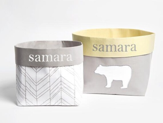Genial Curious Bear Fabric Storage Baskets Nursery Storage | Etsy