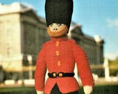 Soft Toy Soldier Knitting Pattern, instant download pdf, 19 inches tall, double knit or worsted weight yarn or wool