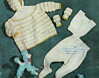 Babies Pram Suit Knitting Pattern, instant download pdf, size 3 to 6 months, 9 to 12 months, double knit or worsted weight yarn or wool
