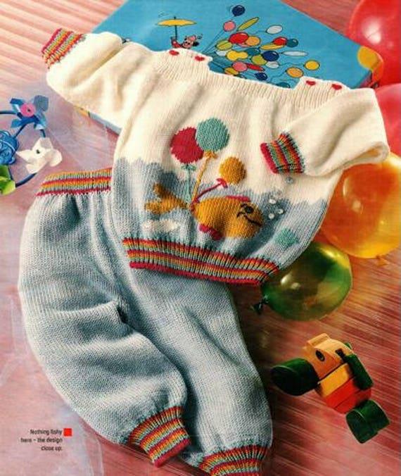 47ed63abdeb8e Babies Vintage Balloon Motif Jumper and Pants Knitting | Etsy