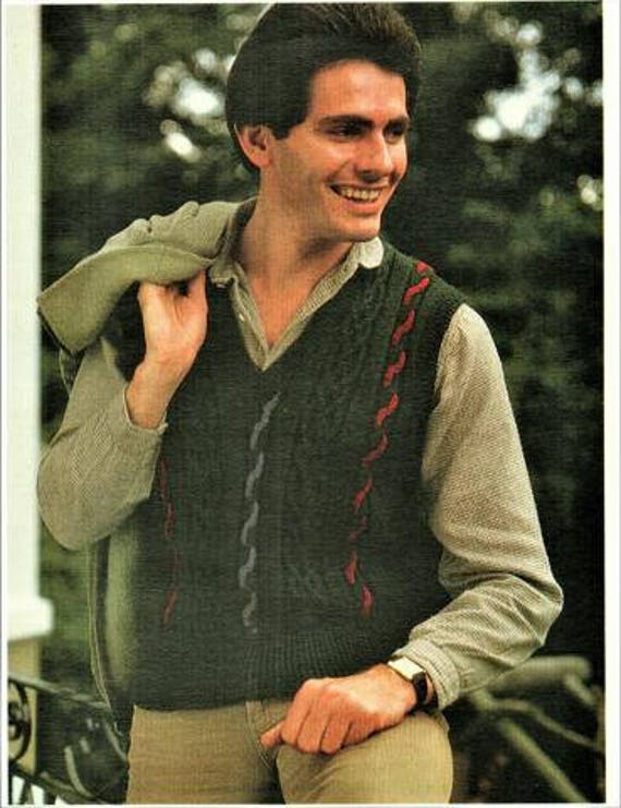 Cable And Aran Vest Mens Knitting Pattern Instant Download Etsy