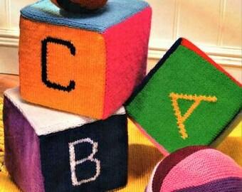 Babies Blocks Knitting Pattern, instant download pdf, 3.75 knitting needles yarn equivalent