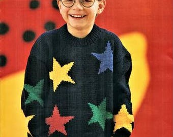 Childs jumper Knitting pattern, instant download PDF, sizes 3 to 6 years