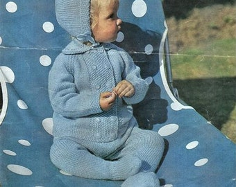 Babies Pram suit Knitting Pattern, Instant Download pdf, size 20 to 22 inch chest, Double Knit, Bonnet, coat, leggings, helmet
