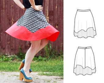 Flared skirt with a wave insert - pdf sewing pattern ONLY - #002