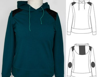 Women's hoodie with contrasting inserts - pdf sewing pattern ONLY - #007