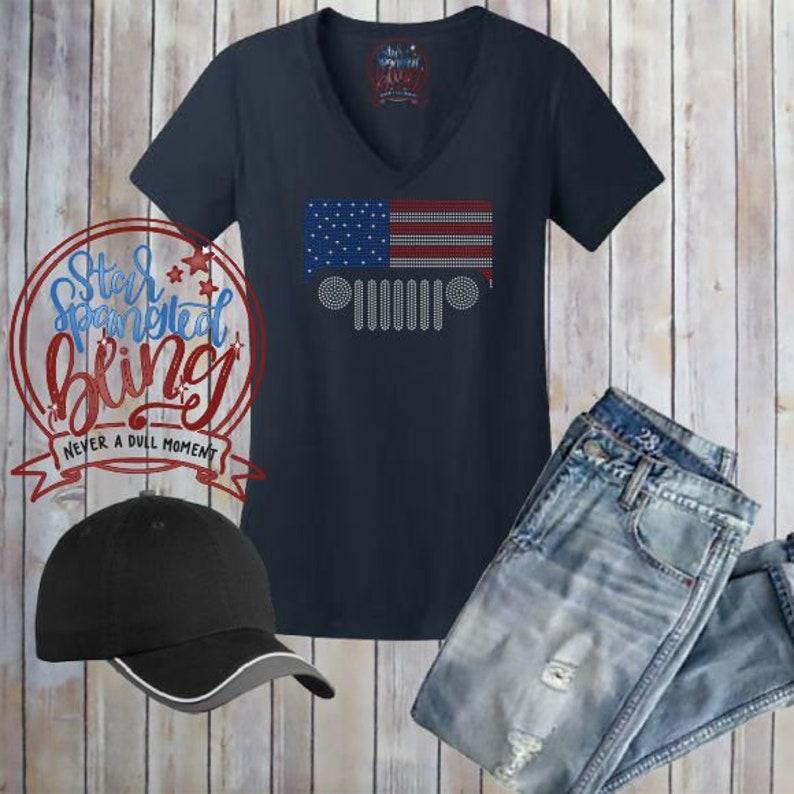 3348118e4 Jeep USA Flag Spangle Bling Rhinestone Style Shirt,Jeep Lovers Bling  shirt,America Jeep Spangle Shirt,4x4 Jeep Bling Tee,Jeep Muddin' Shirt