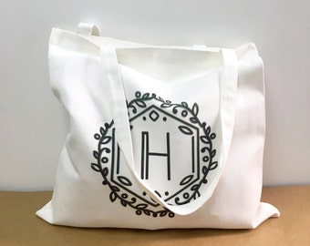 """Printed Tote bag Perlon Bag - Black Words Letters """"H"""" (We can customer made for our words)"""