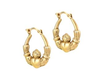 Anniversary Gift Bridal Jewelry A67517K1 Irish Wedding Yellow Gold Earrings Gold Claddagh Hoop Earrings Irish Earrings