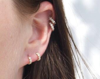 d8ebe1321 9ct gold - tiny cz studs - cz - gold stud earrings - tiny gold hoops - cz -  tiny hoop studs - tiny gold earrings - half hoop studs -I3SF0599