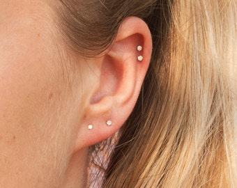 9ct gold - tiny diamond studs - diamonds - stud earrings - gold studs - diamond studs - small diamond studs - diamond earrings - SF2252