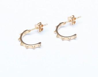 dot hoops gold M30297 bobble gold earrings hoop earrings stud earrings gold dot stud earrings Half hoop hoops gold studs
