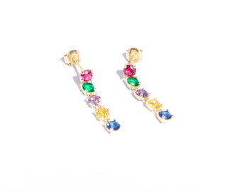 3573398b3 9ct gold - rainbow - chain - stud earrings - CZ - rainbow stud - earring -  small gold earrings - gold - drop stud - gold studs - I3-SF-1869