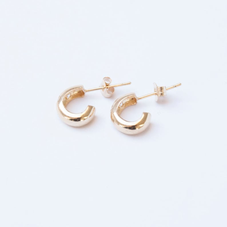 a0eacd01ef542 9ct gold - CZ - stud earrings - small gold earrings - gold - gold cz -  chunky earrings - cz earrings - gold studs - small studs -I3-SF4380
