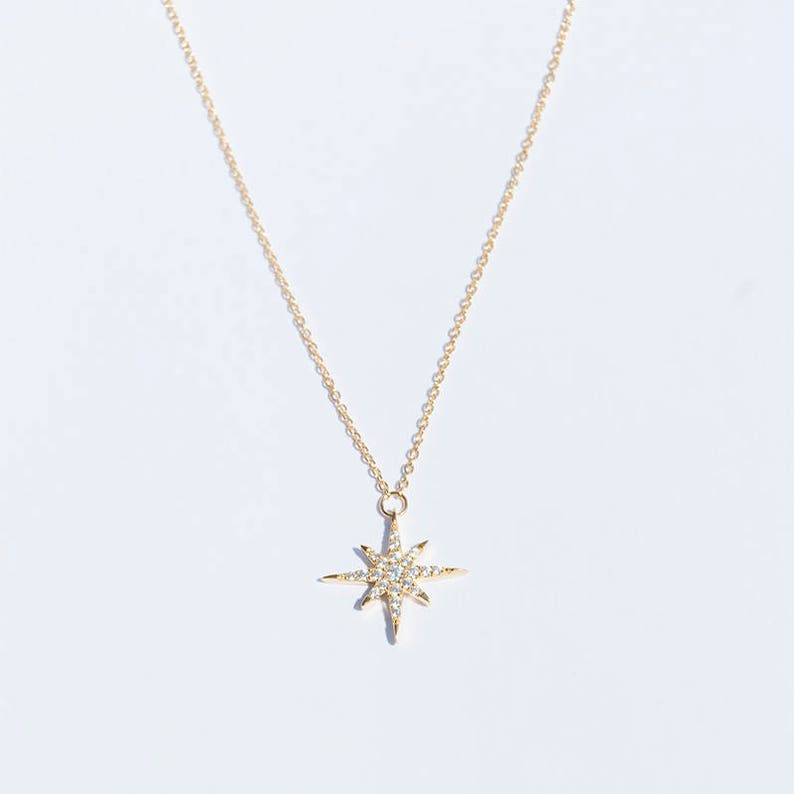 08ed6102aa404 North Star - gold charm - necklace - cz necklace - star necklace - cz  necklace - zodiac necklace - silver necklace - gold necklace -J1PD1376