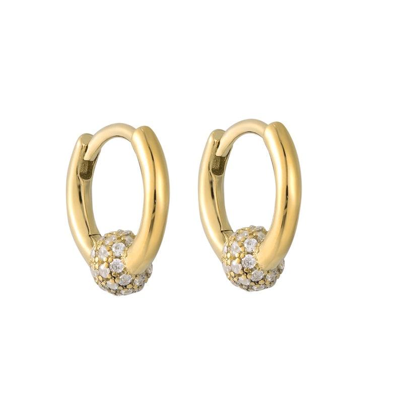 cubic zirconia Y3-HU-5146 bead hoop earrings gold hoops small hoop earrings sphere charm Pave cz charm gold hoops