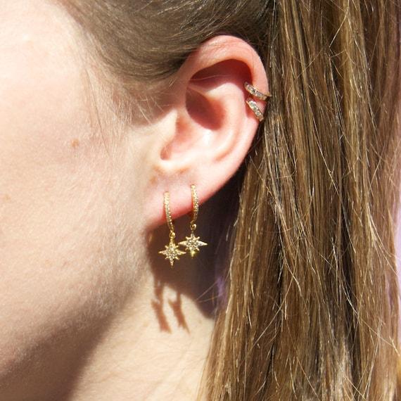 Small Cz Gold Hoops   Tiny Gold Hoop Earrings   Small Hoop Earrings   Tiny Charm Hoops   Star Hoops   Charm Hoops   Cz Hoops   P3 Hu0204 by Etsy