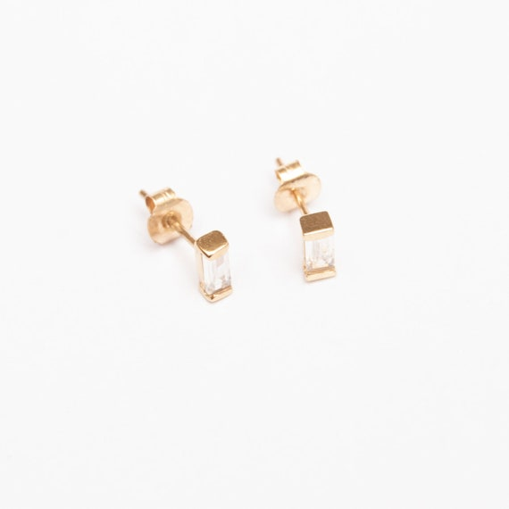 9ct Gold   Tiny Baguette Cz Bezel Studs   Cz   Cubic Zirconia   Gold Stud   Earrings   Rose Gold Studs   Sterling Silver Studs   J1 Sf 1471 by Etsy