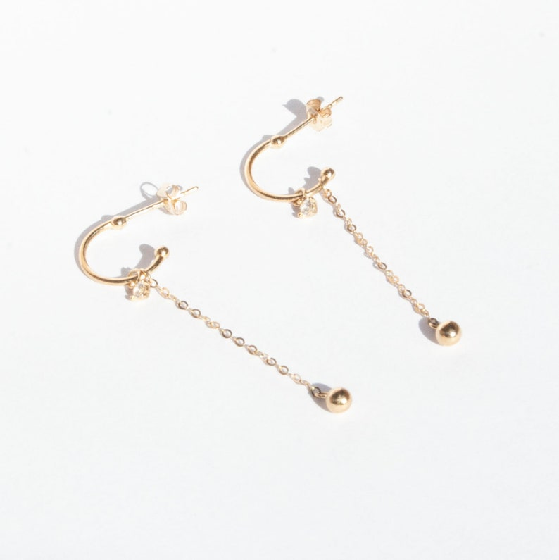 1a1649e9287c7 9ct gold - half hoop - chain stud earrings - gold charm hoop - small gold  studs - gold studs - 9ct gold hoop - 9ct gold studs - J2SF-4172
