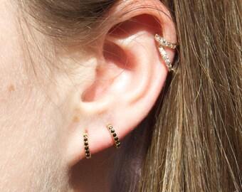 Tiny cz gold hoops - tiny gold hoop earrings - small hoop earrings - tiny gold hoops - cartilage hoops - cubic zirconia  - P3HU0224-CZW/CZB