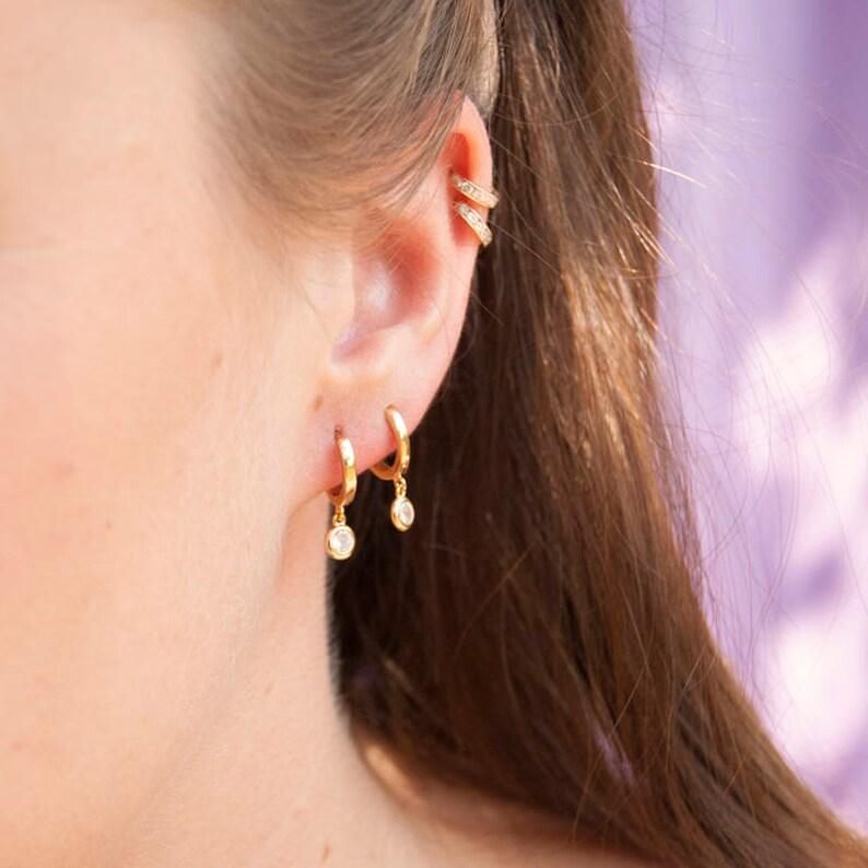 8532a78f6 Small bezel cz drop gold hoops tiny gold hoop earrings | Etsy