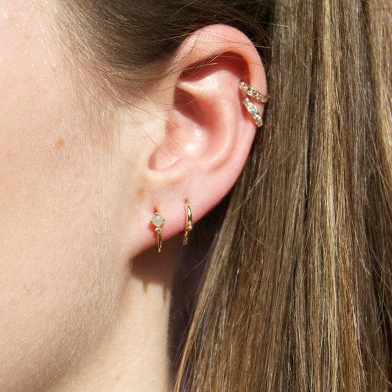 Half hoop stud earrings moonstone earrings gold gold  6917f21989