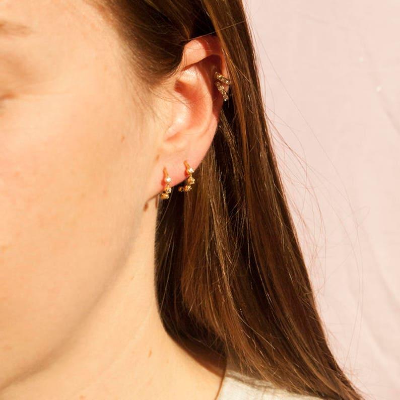 gold hoops small hoop earrings gold hoops hoop earrings CZ bezel gold half hoops M3-SF-0216 tiny gold hoop earrings cz hoops