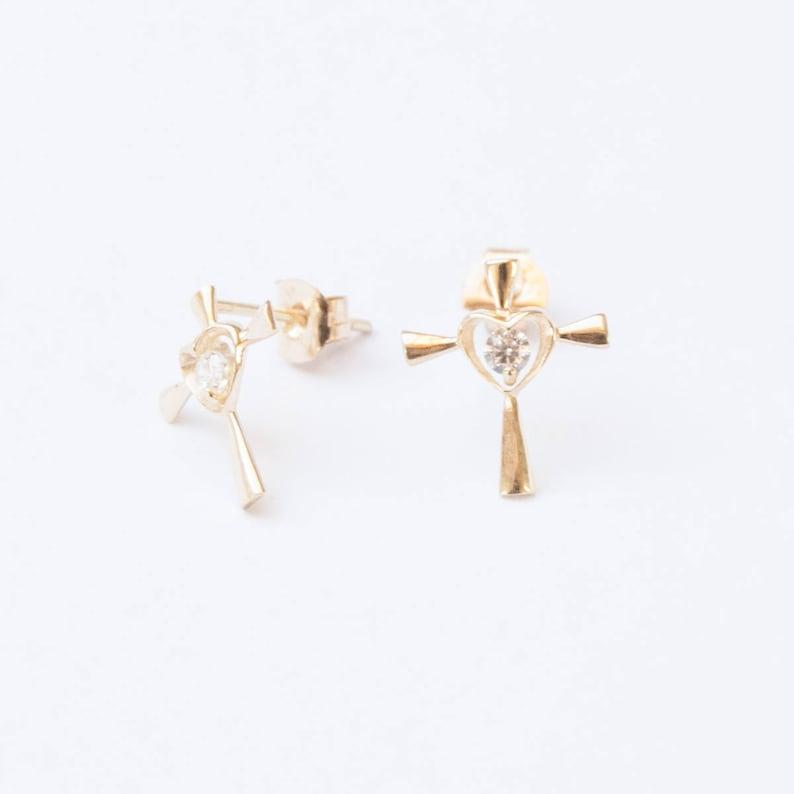 fb307cb71ad 9ct gold - CZ - cross - stud earrings - small gold earrings - gold - gold  cross - cross earrings - tiny stud earrings - gold studs I3SF-2951