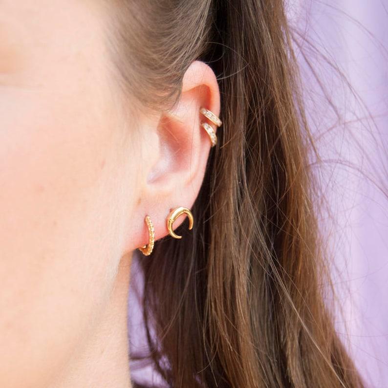 boho Tiny Tusk moon earrings silver earrings minimal -E3-SF1192 tiny stud earrings gold earrings stud earrings moon