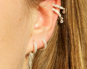 CZ hoops - tiny gold hoop earrings - hoop earrings - gold hoop earrings - tiny gold hoops - hoop earrings - silver hoops -E40209-CZ