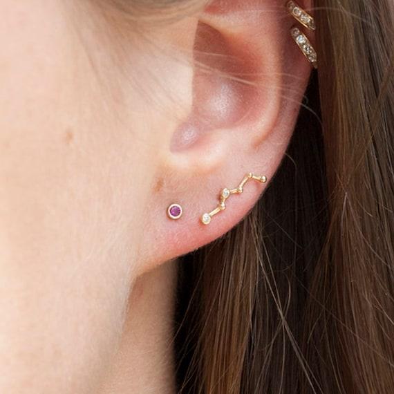 14K Yellow Gold Bezel-set Cubic Zirconia CZ Beaded Constellation Cartilage
