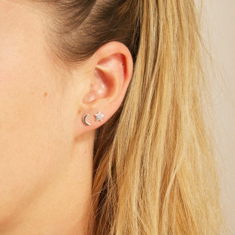 54a35395f Tiny moon earrings tiny star earrings stars moons tiny   Etsy