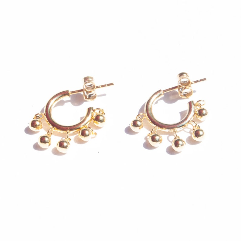19b53d8cb65d4 Bead drop charm half - hoop earrings - ball charm studs - stud earrings -  gold hoops - bead studs - silver earrings - boho jewelry -E4SF1351