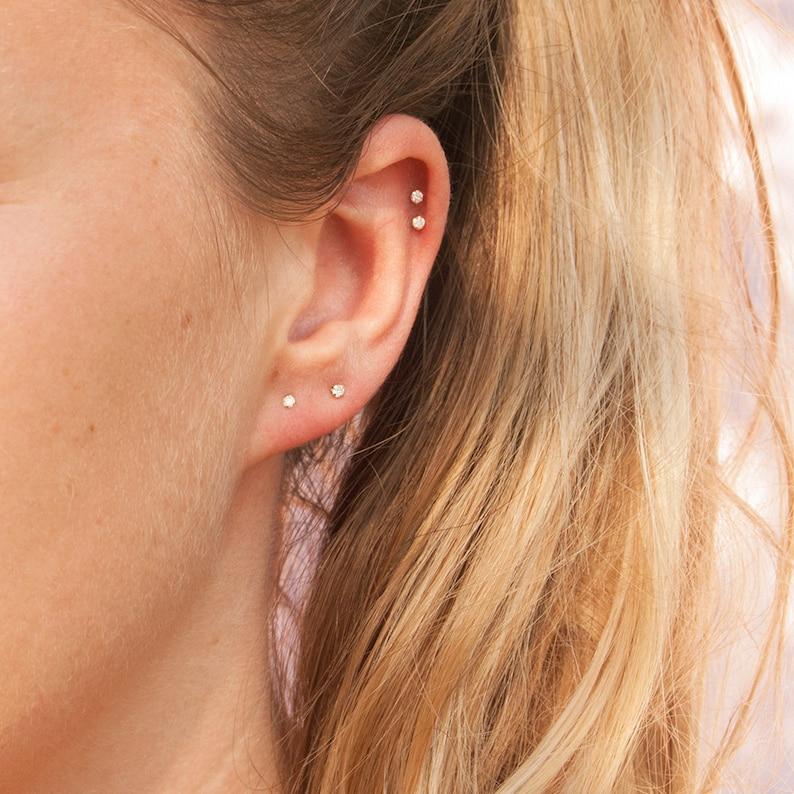 7ee2a1195 9ct gold tiny diamond studs diamonds stud earrings | Etsy