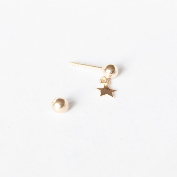 9ct YELLOW GOLD EARRING WIRES SCREW CLIP ON 4MM BEAD