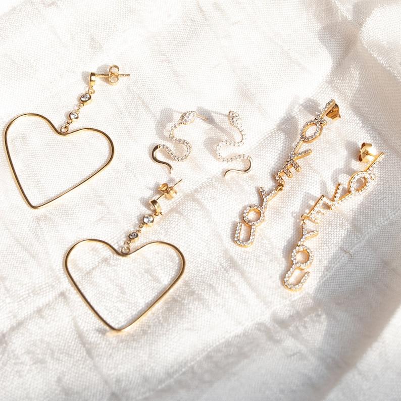 cz drop dangle gold disco studs Heart earrings silver statement earrings cz cz jewelry -E4SF-0887 studs heart studs