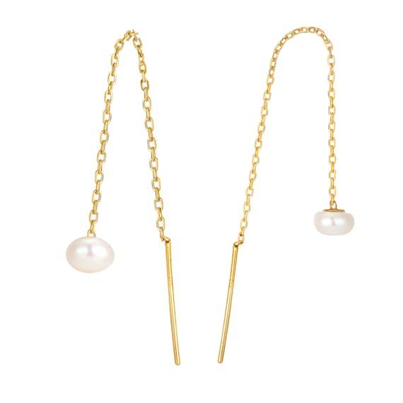 pull through earrings drop earrings freshwater pearl pearl studs pearl earrings Pull through pearl pearl drop E3PT-2039