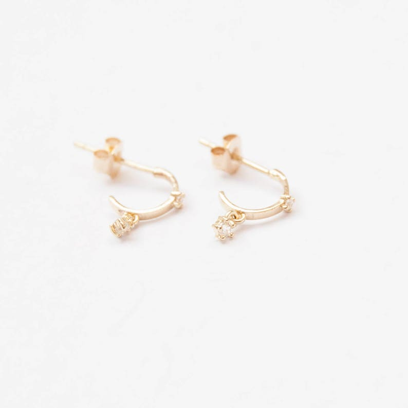 5538e973f4b63 9ct gold - CZ drop - half hoop - stud earrings - small gold earrings - gold  - gold cz - charm earrings - cz earrings - gold studs - I3SF7630