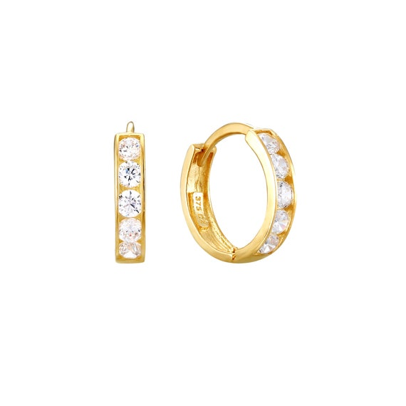 9ct 9k Gold Cubic Zirconia Hoop Earrings