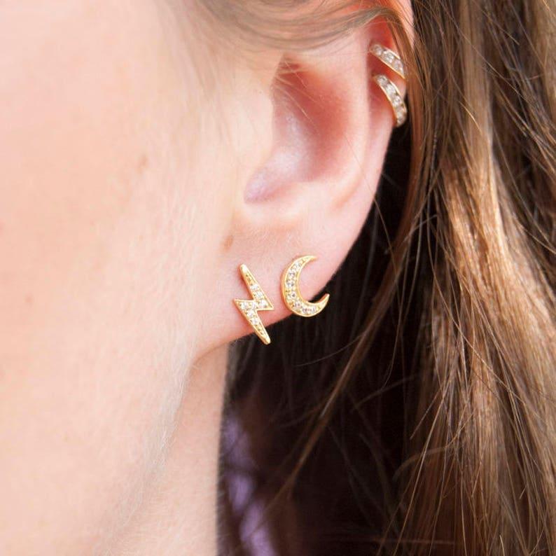 518c59dcf80 Lightning bolt CZ earrings - tiny stud earrings - gold earrings - lightning  bolt earrings - stud earrings - cubic zirconia - gold -E2SF6547
