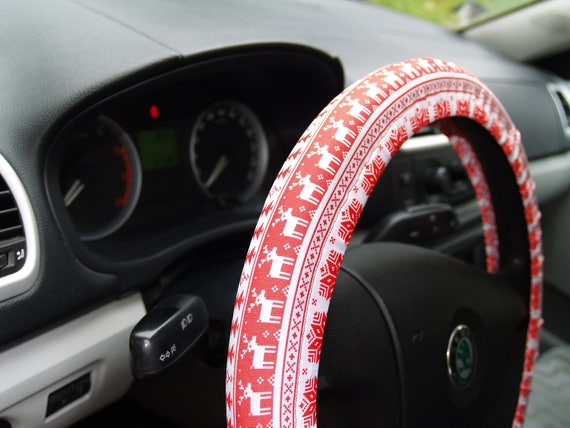 Christmas Car Decorations.Red Steering Wheel Covers Winter Car Accessory For Woman Birthday Gift Birthday Deer Car Decor For Man Accessory For Woman Car Decorations