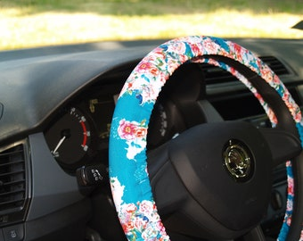 Floral steering wheel cover Floral wheel cover Flowery steering wheel Flowers on wheel Cute car accessories Wheel covers Car accessories set