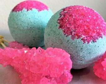 Eye Candy Bath Bomb; XL Bath Bomb; Teal Bath Bomb; Foaming Bath Bomb; Hot Pink Bath Bomb; Purple bath art; Amazing Bath Art