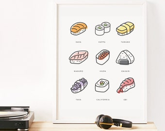 Sushi Print, Sushi Wall Art, Minimalist Art Print, Instant Printable, Modern Minimal, Home Decor, Kids Prints, Kitchen Wall Art, Simple Art
