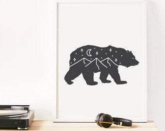 Bear Print, Top Seller, Bedroom Decor, Office Art, Minimalist Print, Mountain Poster, Nature Wall Art, Kitchen Art, Animal Decor