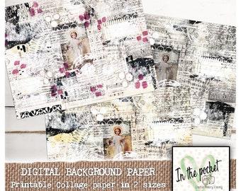 Vintage Bundle Journal Numbers Dates Collage Background Paper Hearts Junk Journal Paper Scrapbook Digital Download Printable