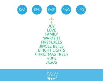 Christmas Tree SVG Words Sayings Subway Art Svg Jesus Cricut Silhouette Cut File Dxf